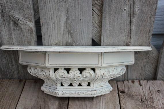 White Ornate Distressed Hollywood Regency Shabby Chic Cottage Garden Beach Shelf