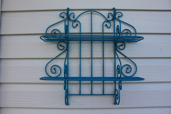 Teal Two Tear Metal Shelf - Cottage Beach Regency Wall Home Decor