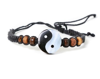 Yin Yang friendship bracelet Handmade with wooden and shell detailing