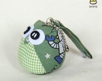 Mr. Robot - the Little Owl Doll with Bag: green, plush, keychain, children, kid, baby, cute, kid, boy, kawaii, plaid, grey, gray, iammie