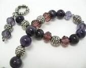 Amethyst Bracelet semiprecious gemstone beadwork crystal glass stone