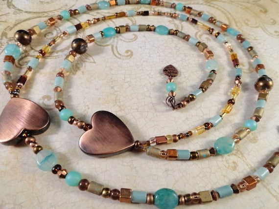 Warm Copper Hearts With Cool Aqua Beaded Double Strand Necklace, Hemimorphite Stone, Hearts, Copper And Aqua Glass Beads, Asymmetrical, OOAK