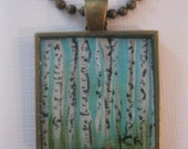 Birch Trees Hand Painted Necklace