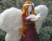 Angel Christmas tree topper, red head angel with dove, Peace Waldorf inspired, felted Angel
