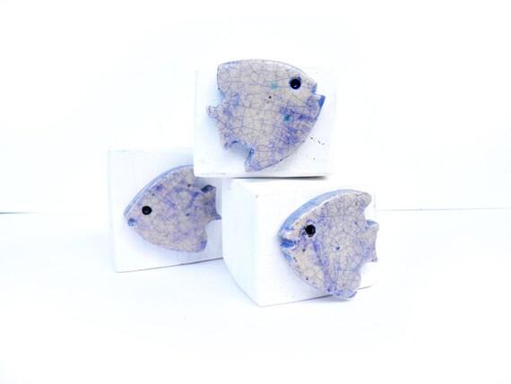 Ceramic fish desk accessories  - fish art - home decor fish - blue fish