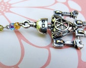 Robot Necklace, Steampunk Jewelry, Geekery, Silver Necklace, Silver Robot, Blue, Purple, Yellow, Red, Green Swarovski Crystals