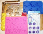 Extrusion Kit with Push Molds, Fondant Punch and Extruder with Tips Over 50 pcs