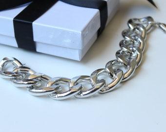 Silver Chunky Curb Chain Bracelet
