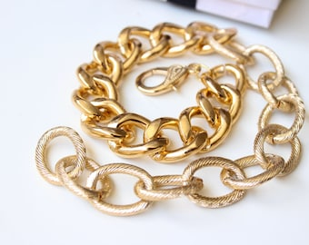 Double Wrap Gold Chunky Curb & Textured Chain Bracelet