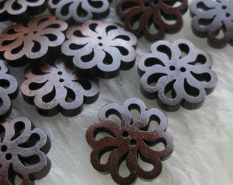 40x New flower Wood Buttons 20mm Sewing Craft F273