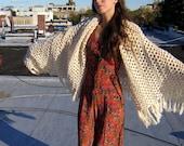 Crochet shawl, winter white, gypsy style, fringe, vintage