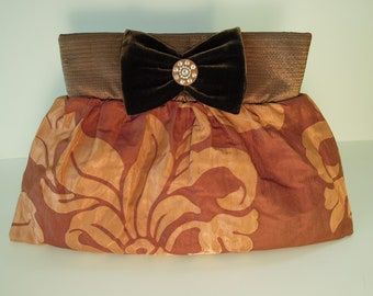 Clutch Purse Handmade from Iridescent Silk Fabric with a Woven Floral Pattern and Decorated with a Bow-Tie & a Vintage Rhinestones Button