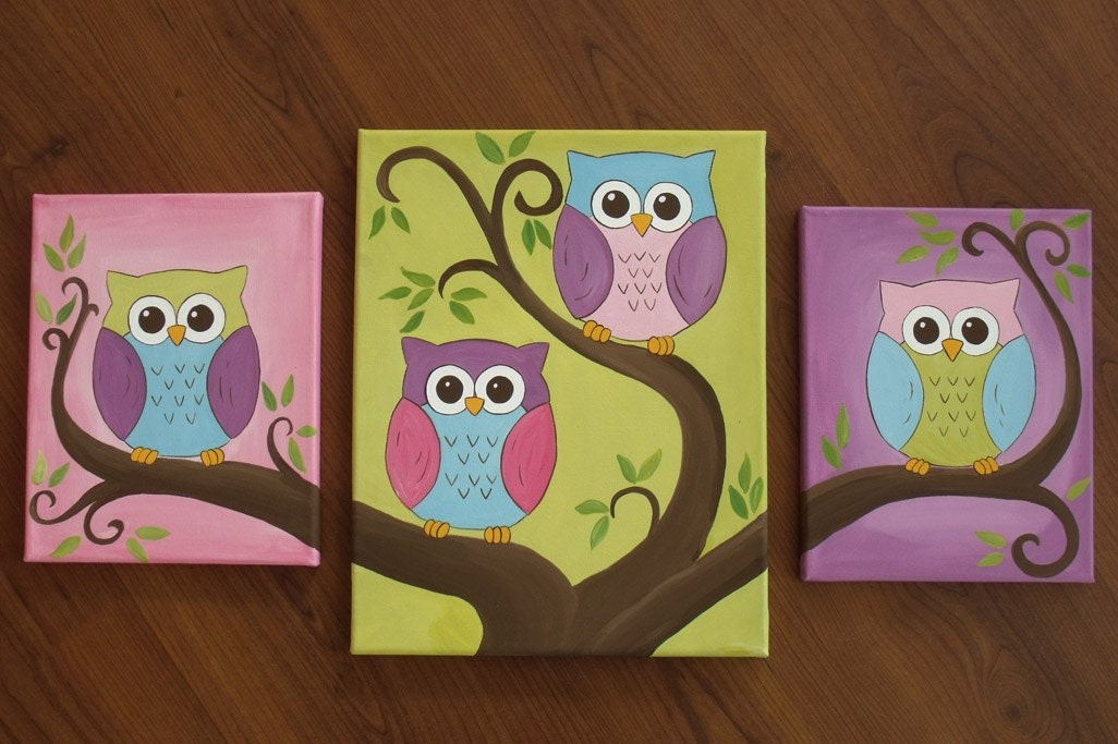 3 canvas set of owl paintings by leilasartcorner on etsy for Multi canvas art ideas