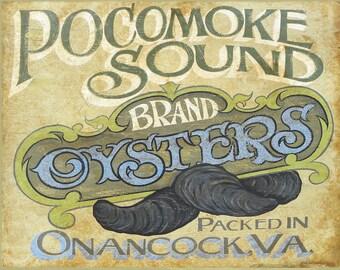 Pocomoke Sound  MD. Oyster Print, 11 by 14 inch