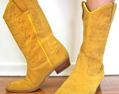 Mustard Yellow Suede Leather Cowboy Boots