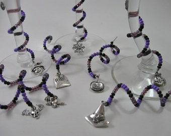 Beaded Spiral Halloween Wine Glass Charms in Purple & Black 8 Piece Set