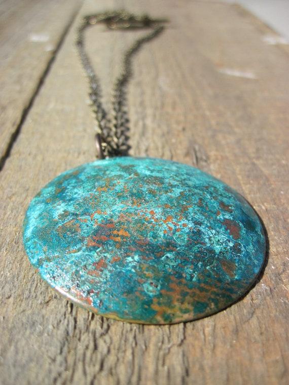 SALE Verdigris Copper Necklace- SALE-Patina copper bowl bohemian necklace