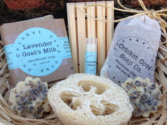 Handmade Soap Baskets : Lavender lovers handmade soap box set by