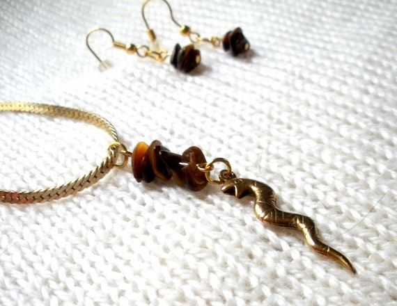 Upcycled Snake Pendant Necklace with Tiger's Eye Chips on a Herringbone Chain, Reclaimed is Eco Friendly