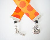 Halloween Bookmark with Pumpkin and Witch's Hat Charms, Orange Polka-dot Ribbon, Trick-or-Treat, Jack o'Lantern