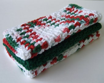Christmas Dishcloths,  Red-Green-White, Crochet - cotton- set of 3
