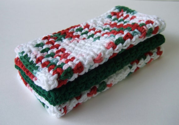 Christmas Dishcloths,  Red-Green-White, Crochet - cotton- set of 3