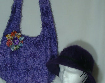 Hobo Shoulder Bag with FREE Hat (Purple) P100