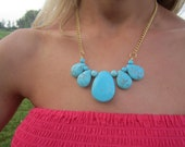Turquoise Stone Teardrop Necklace on Gold Chain