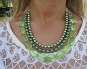 SALE Green Pearl Statement Necklace