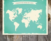 Wherever We Are Together That is Home World Map Custom Wedding Print Destination Wedding Gift  Memento print Signature Guest Book