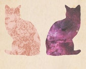 Two cats side by side space flower digital illustration