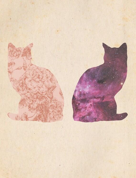 Digital Illustration, Print of Digital Illustration, Two Cosmic Cats Illustration