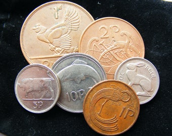 Gift Bag Of 6 Authentic Irish Animal Coins In A Plush Velvet Pouch - Mix Of Decimal And Pre Decimal