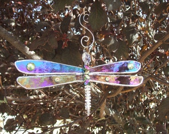 Dazzling Dragonfly Suncatcher Ornament in Iridescent Purple