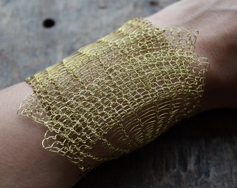 The Brass Wire Crocheted Lacy Cuff Bracelet/ Classy Chic Wide Unique Unusual Bracelet/ Frills Bracelet. Made to order.