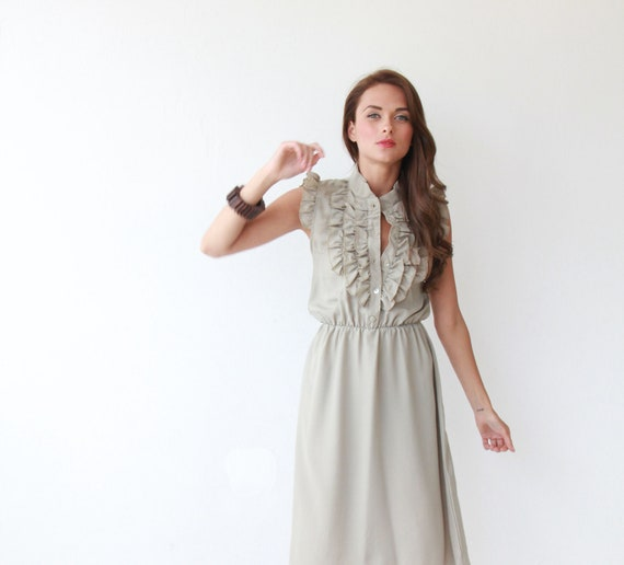 Gray , Women Dress with Ruffle , Cocktail  Dress