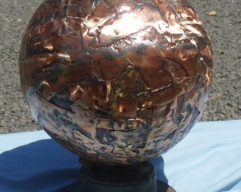 Large 12 inch Hand Formed Copper Globe Ball