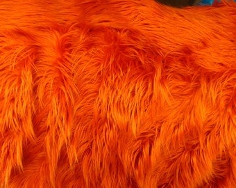 Mongolian Faux Fur Fabric Orange Rust 1 Yard