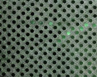 Sequin Small Dots Dark Green Fabric 42 Inch Fabric by the Yard 1 yard