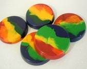 Set of 5 --Rainbow Crayons, Recycled, Upcycled