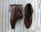 Brown Leather Oxford Ankle Boots size 6.5