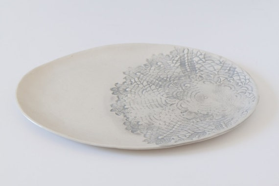 Large White Oval Platter with Gray Lace Detail
