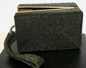 Irridescent Green Beaded  and Gold Vintage Purse