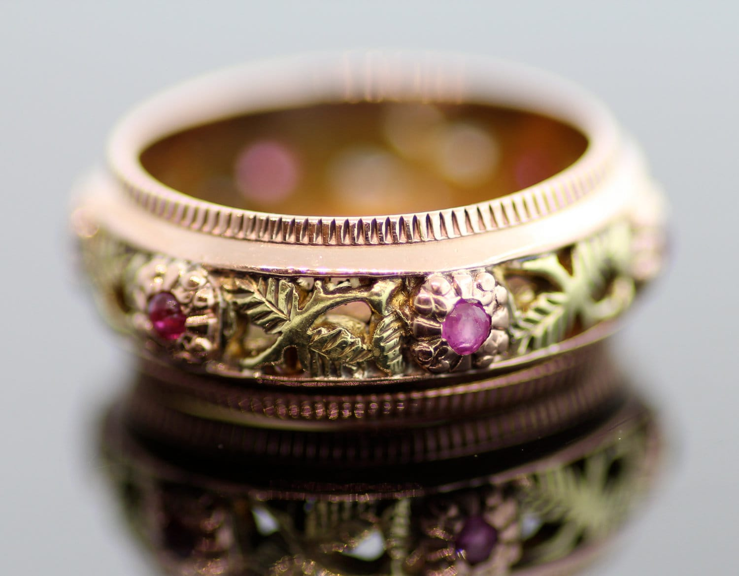 Antique Ruby Wedding Band 18K Yellow Gold 14K Rose and