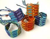 Friendship Bracelet, Extra Wide, Oversized, Woven Latin American Bracelet, Ocean Blue and Purple