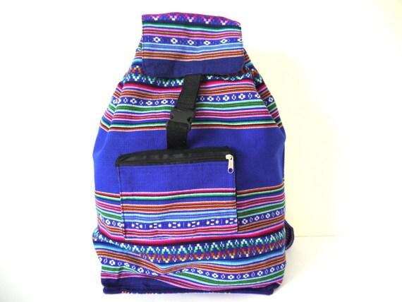 Tribal Fabric Backpack, Latin American, Peru, Cobalt Blue Stripes