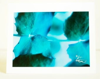 Blue, Green, Purple, Leaves, Greeting Card, Photographic, Handmade, Horizontal, Blank