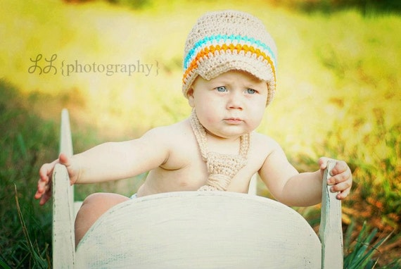 ANY COLOR(S) Newsboy Beanie & Tie Newborn-Toddler
