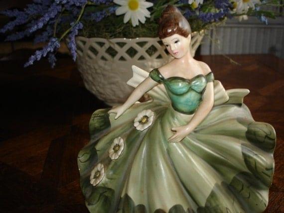 "Figural Lady Planter -  Lefton Original Label  (1950""s)"