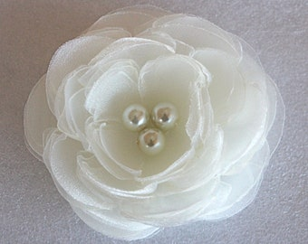 Ivory wedding hair flower with glass pearls -wedding hair accessories -  ivory bridal hair clip